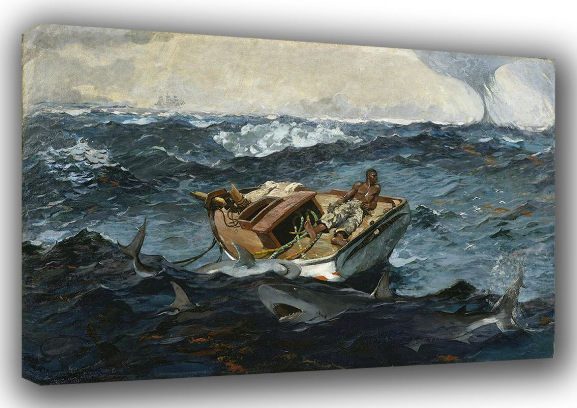 Homer, Winslow: The Gulf Stream. Nautical/Marine/Fishing Fine Art Canvas. Sizes: A3/A2/A1 (003464)